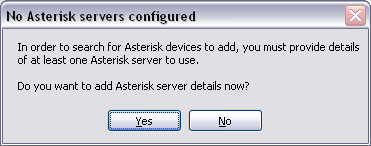 Message from Flexor Manager if no Asterisk servers are configured